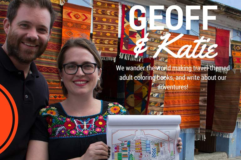 Geoff and Katie - creators of the travel coloring books